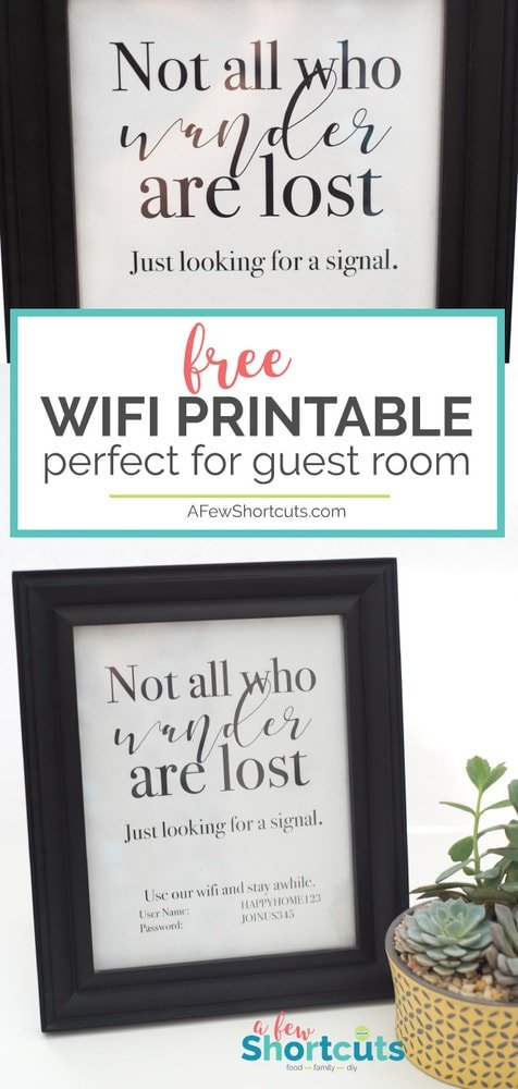Get your guest room ready for your friends and family with this adorable FREE wifi printable sign. Simply fill in your password, print, and frame!