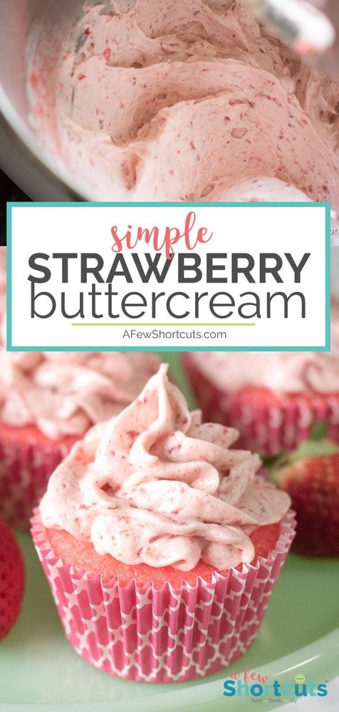 There are few things better than this Simple Strawberry Buttercream Frosting Recipe! Perfect for any cake or cupcake and can be made vegan too!