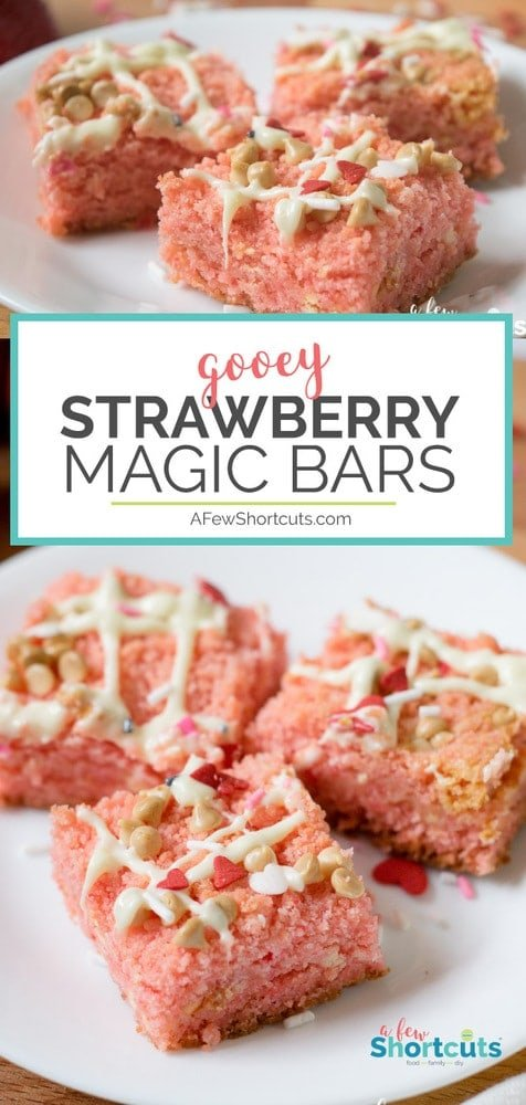 Like brownies, but strawberry instead. These gooey Strawberry Magic Bars are just that. Magic! Get the recipe and make these for someone special in your life!