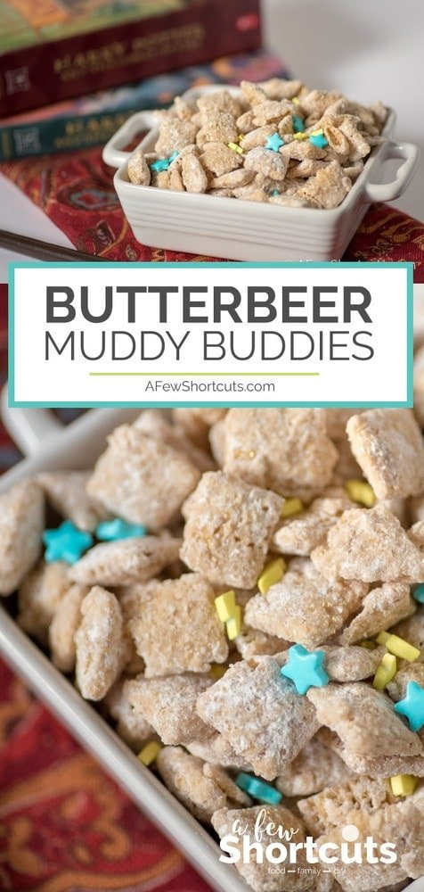 Stop waiting for your letter to Hogwarts! Whip up a batch of these magical Butterbeer Muddy Buddies! There are spells to make them gluten free and vegan too!