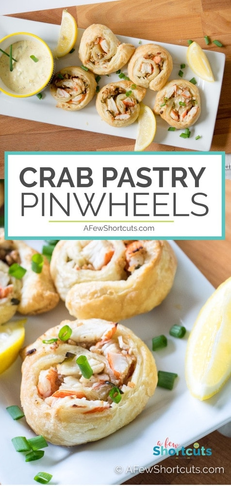 Crab cake flavor minus all of the work! These Crab Puff Pastry Pinwheels are a perfect appetizer recipe to keep on hand for a dinner party!