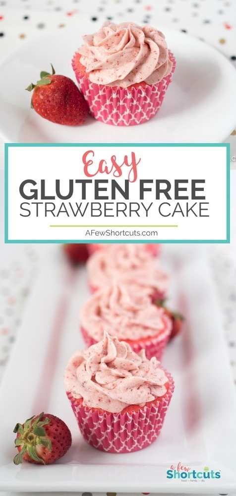Pink and delicious! This is the easiest Gluten Free Strawberry Cake Recipe you will ever find and it turns out moist and perfect every time!