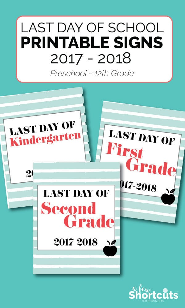 The last day of school is coming. Print these Last day of School Printable Signs for your photos and document these days for a lifetime.  #printable #school #photoprop