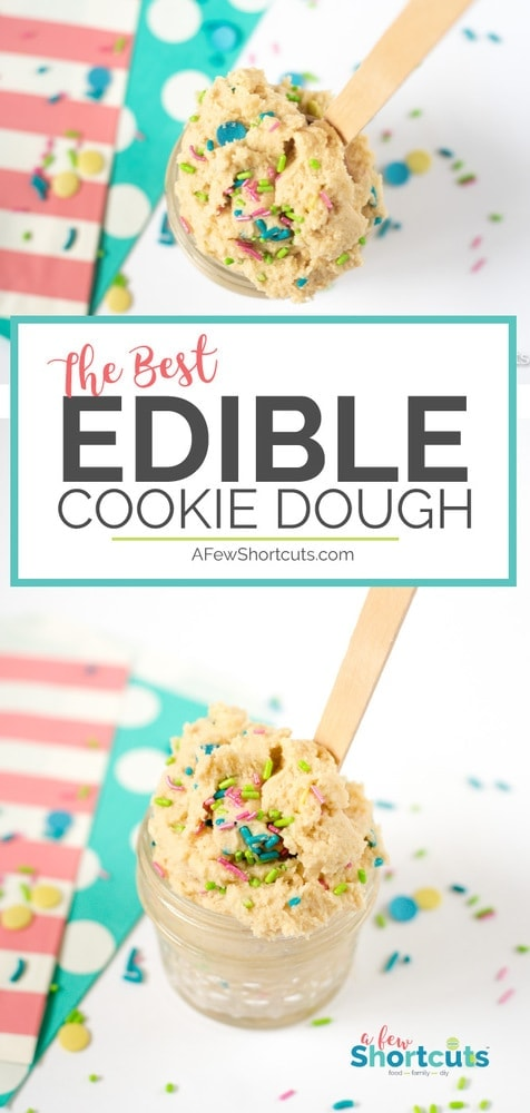 This is the best edible Cookie Dough Recipe. Not only is it mouthwateringly delicious but you can adjust the recipe for gluten free and vegan easily! JUST YUM!