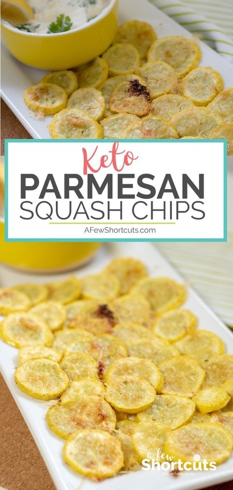 A low carb snack or appetizer that is a perfect way to use up some of that summer squash. These Parmesan Squash Chips take only minutes to make and are a tasty keto-friendly snack.