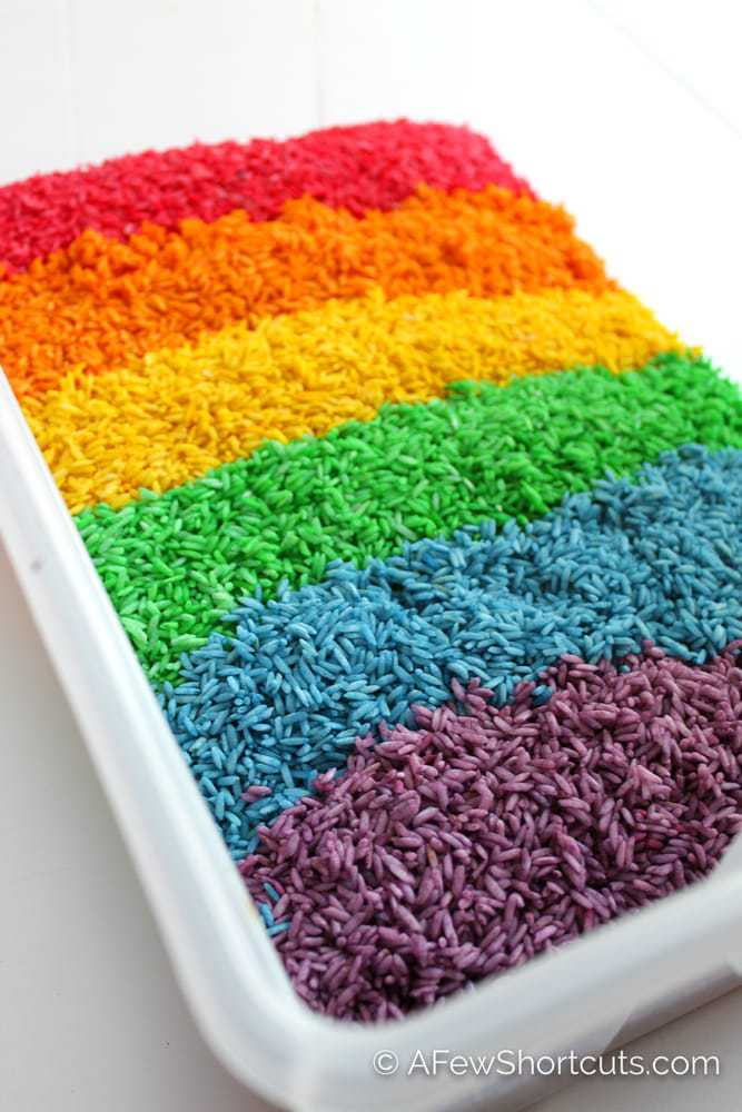 How To Dye Rice For Sensory Play A Few Shortcuts