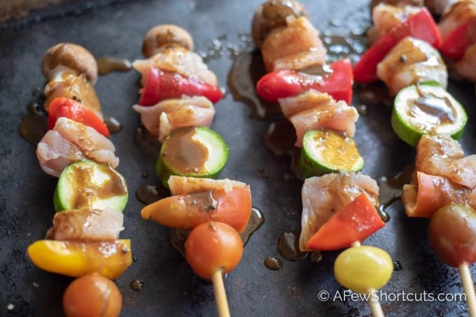 Pull out some pantry staples and make this Balsamic Honey Mustard Glaze Recipe that is perfect on these chicken kabobs and so much more.