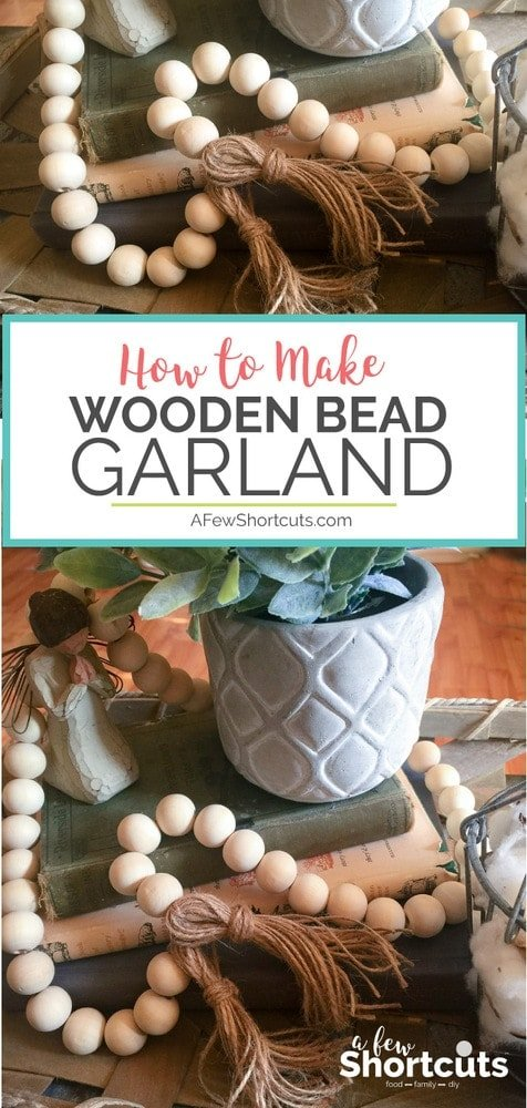 Skip the home decor store and learn how to make wooden bead garland with tassels for a fraction of the price. Perfect DIY for your Farmhouse decor and easy to make