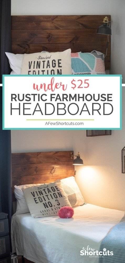 Affordable and stylish. It doesn't get much easier! Learn how to make a Rustic Farmhouse Headboard for under $25. No special tools needed.