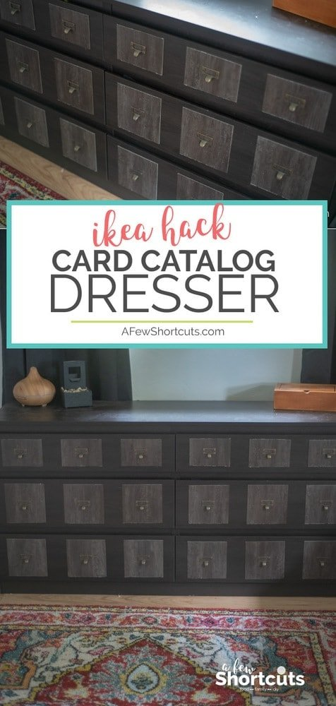 Turn a simple dresser into a faux card catalog dresser with this easy DIY. This inexpensive and easy project is a great way to spice up a boring piece of furniture.