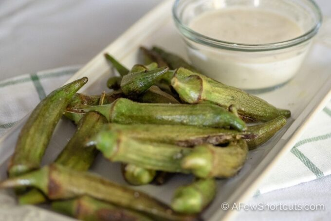A unique way to enjoy okra that is low carb and keto friendly! Try this yummy and simple Roasted Okra Recipe. Great with ranch!