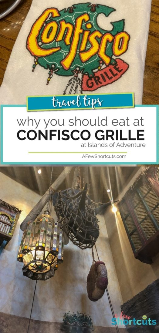 Heading to Universal Studios Florida Resort? Check out why you should try Confisco Grille in Islands of Adventure and how it stacks up to the competition.  | AFewShortcuts.com #universalstudios #review #travel #themepark #restaurant