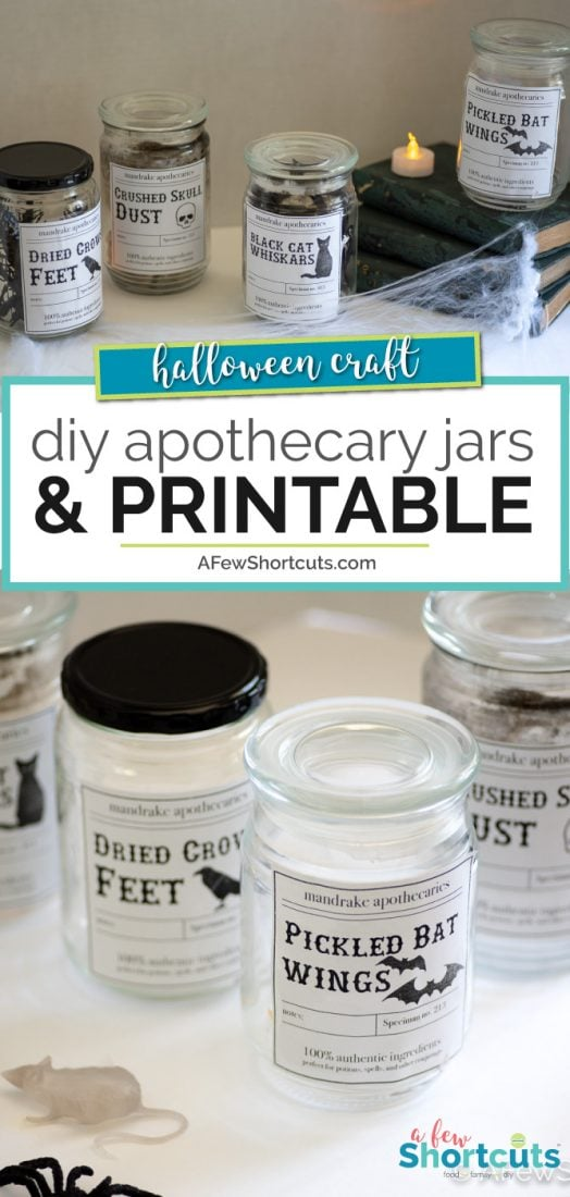Diy Halloween Apothecary Jars Printable A Few Shortcuts