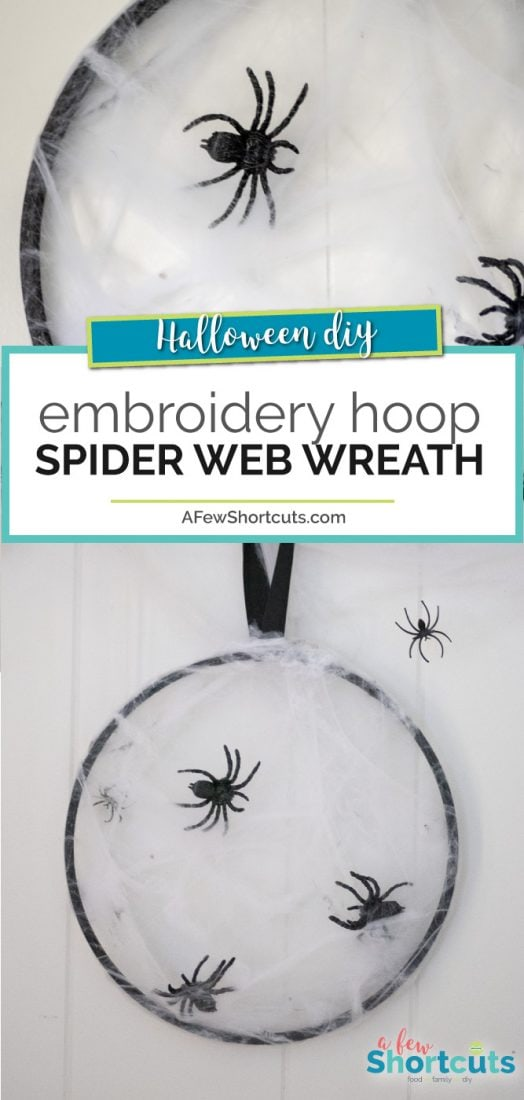 A simple spooky craft that is perfect for Halloween! This DIY Embroidery Hoop Spider Web Wreath takes minutes to make and is super creepy!