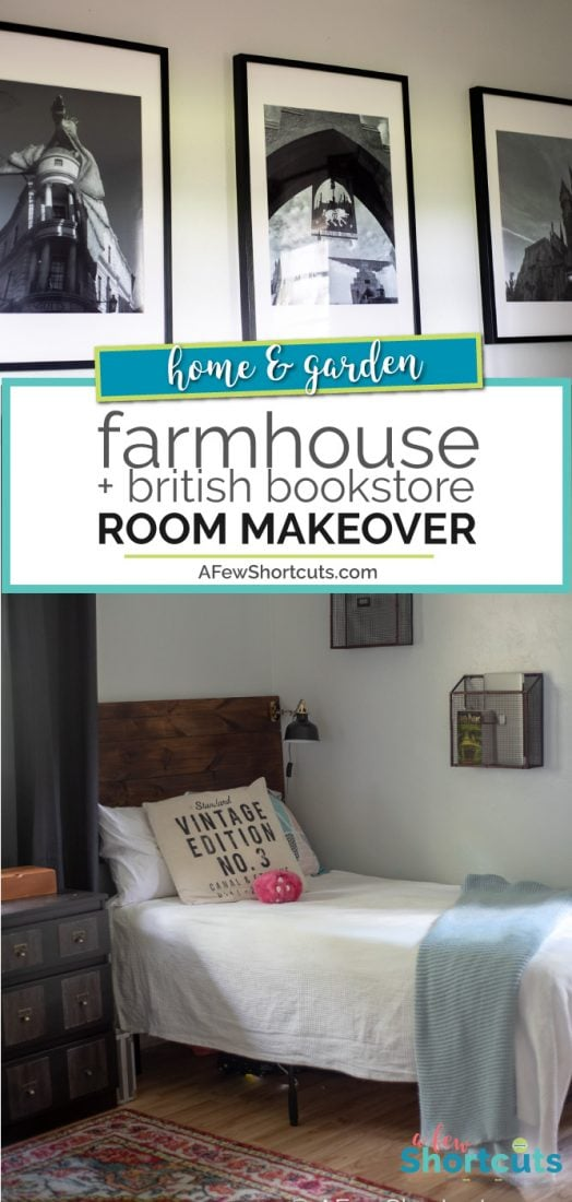 A fun room transformation. See how we turned an empty space into Farmhouse Meets British Bookstore in this Girls Room Makeover! | @AFewShortcuts #homedecor #fixerupper #room #farmhouse #design