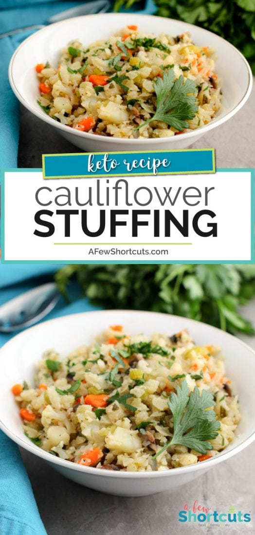 The holidays can be hard when you eat low carb! Check out this delicious Keto Cauliflower Stuffing Recipe that makes a tasty holiday side dish! | @AFewShortcuts #keto #lowcarb #holiday #recipes #sidedish