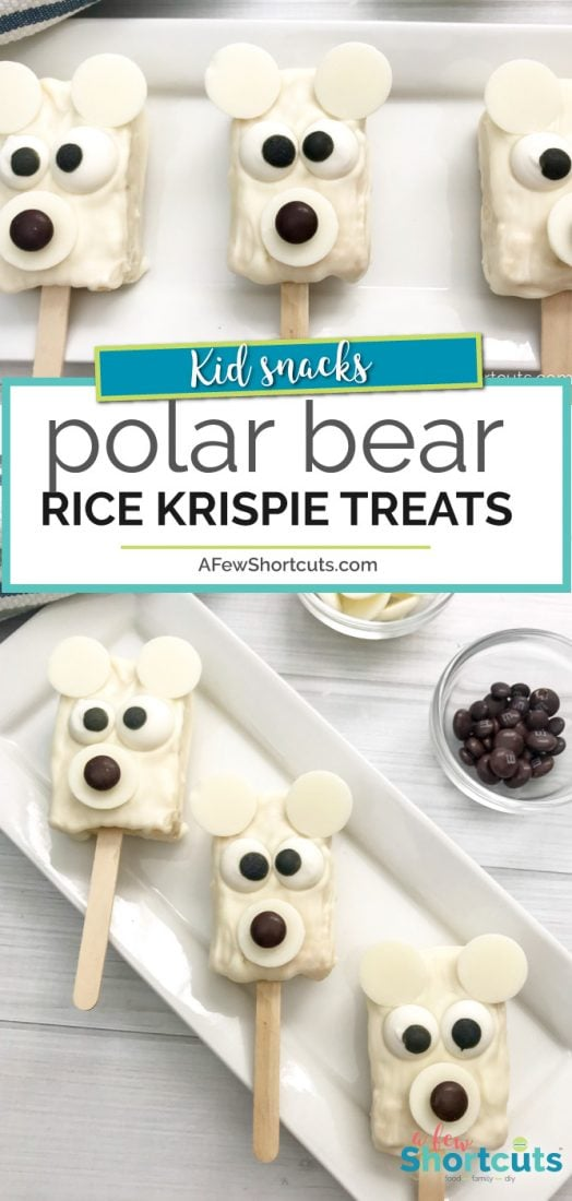 When there is a chill in the air this fun Polar Bear Rice Krispie Treats Recipe is sure to get the kids smiling! So much fun for parties or just because! | @AFewShortcuts #winter #snacks #recipes #kidfood #party #polarbear