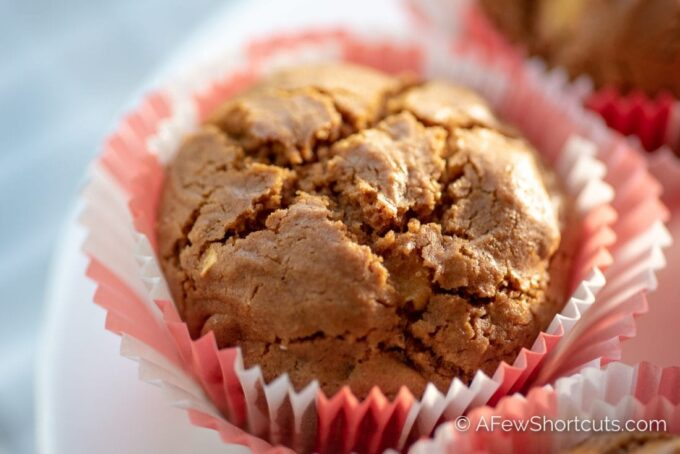 Possibly the most perfect winter muffin recipe! This easy to make Apple Gingerbread Muffins Recipe is bursting with flavor in every bite. | @AFewShortcuts #breakfast #muffins #gingerbread #apple #glutenfree #dairyfree #winter