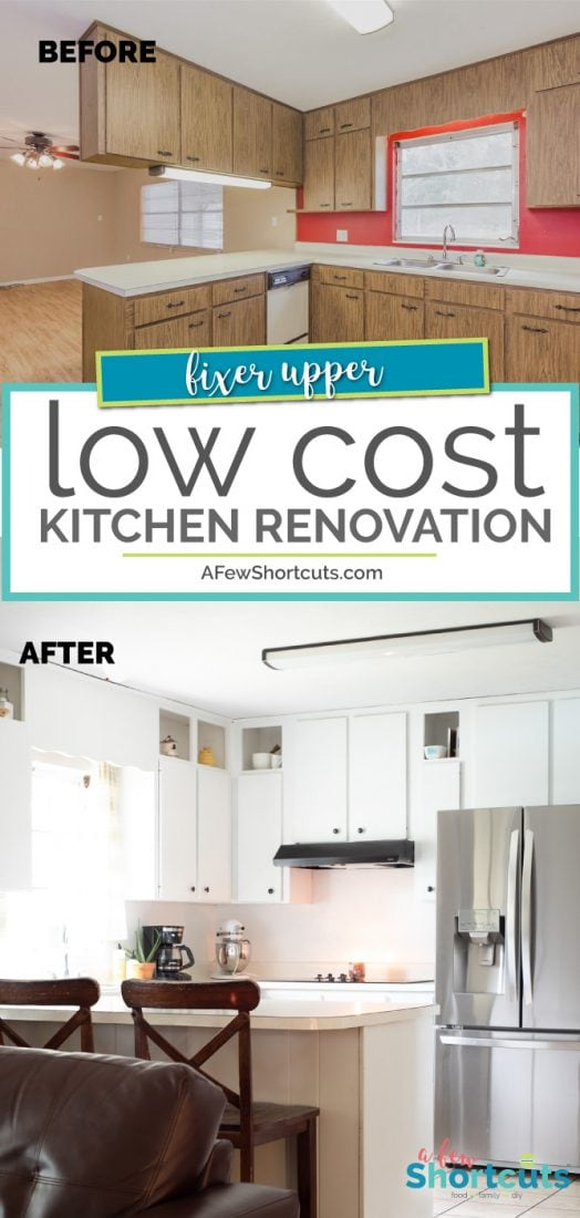 Small budget? You can still make a big difference in your space. Check out our low cost kitchen renovation in our Fixer Upper.  | @AFewShortcuts #fixerupper #home #kitchen #design #renovation #remodel