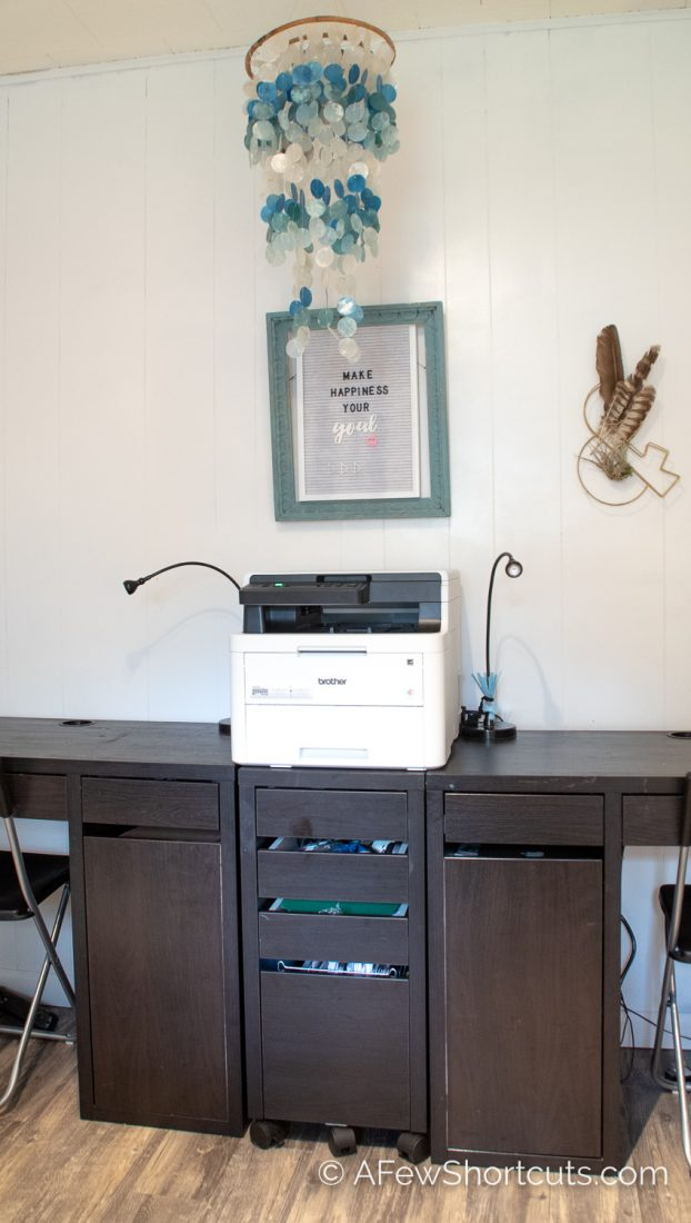 From brown wood paneled walls to my favorite hang out in the house. Check out our Home Office Remodel in our Fixer Upper. | @AFewShortcuts #fixerupper #home #office #decor #remodel #design