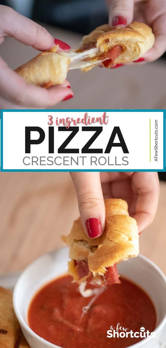 Appetizers and game day snacks don't get any easier than this simple Pizza Crescent Rolls Recipe. Cheesy, Gooey, and oh so delicious! You have to try them! | @AFewShortcuts #recipes #appetizer #pizza #gameday