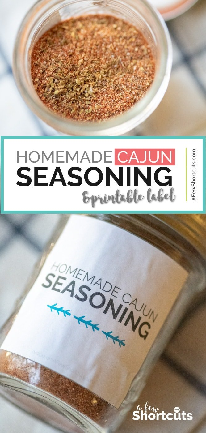 Skip store-bought and mix up your own Homemade Cajun Seasoning with this yummy and simple recipe. Print the labels and give as gifts too! | @AFewShortcuts.com #seasoning #spices #homemade #recipes #printable