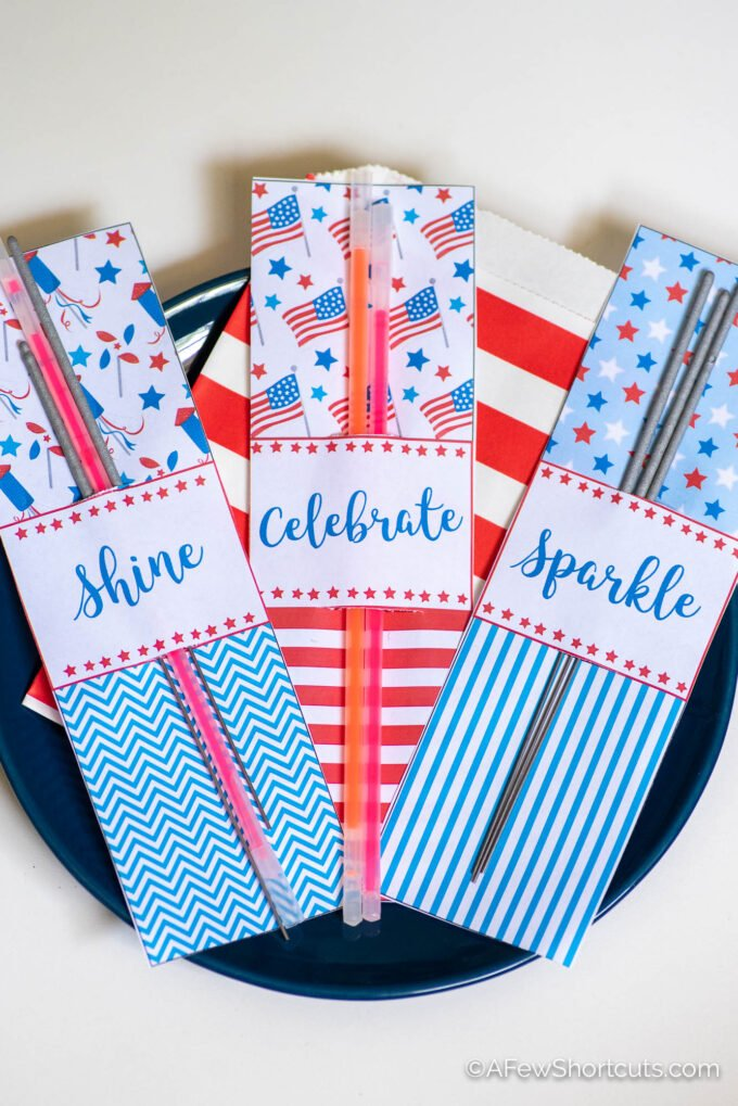 4th of July Party Favors with sparklers