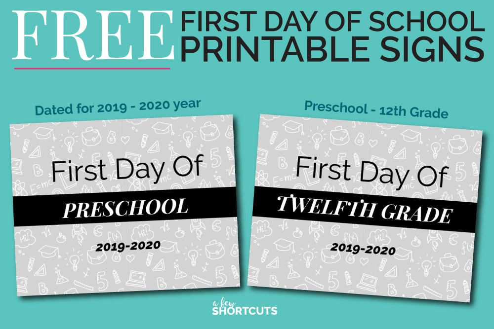 photograph relating to First Day of School Printable Sign known as Totally free 1st Working day of University Printable Signs and symptoms - A Couple of Shortcuts