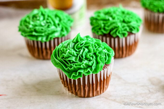 Green frosted cupcake