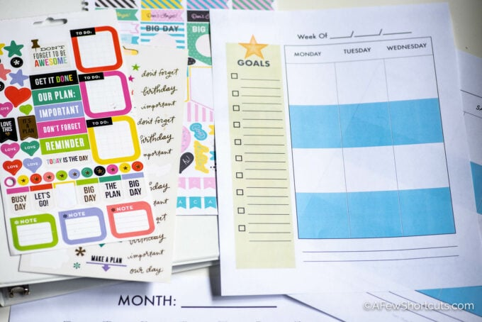 Planner pages with stickers
