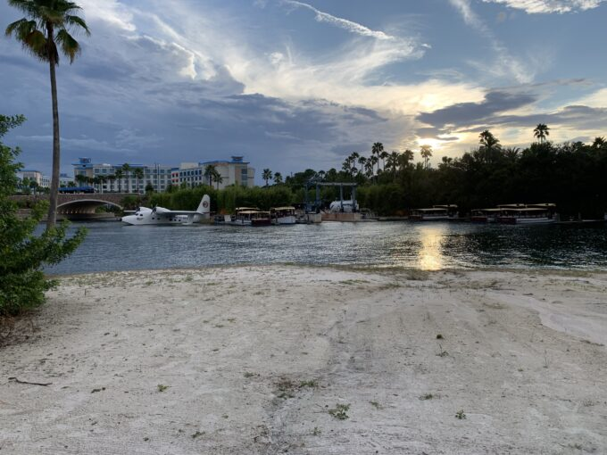 Sunset over waterway behind royal pacific