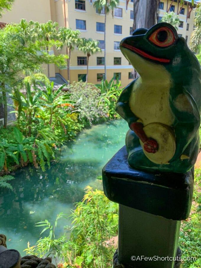 Frog on walkway into royal pacific
