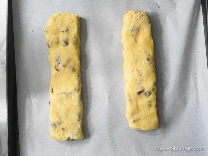 Biscotti dough logs