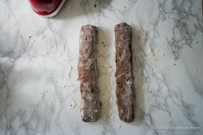 Chocolate Biscotti Dough Logs