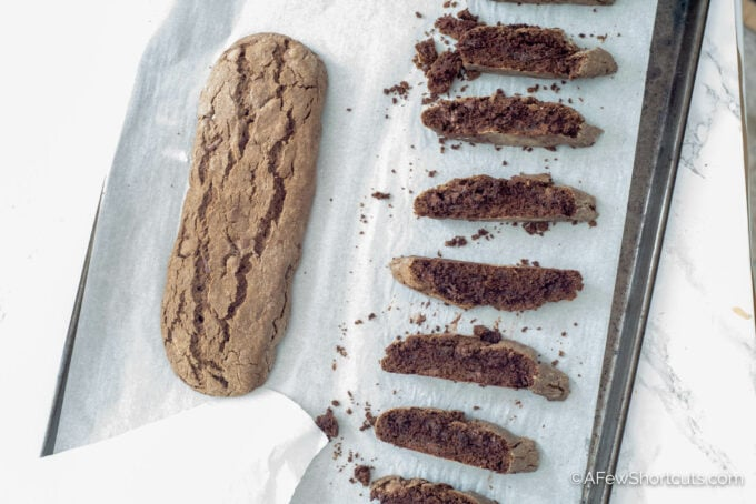 Chocolate Biscotti on pan