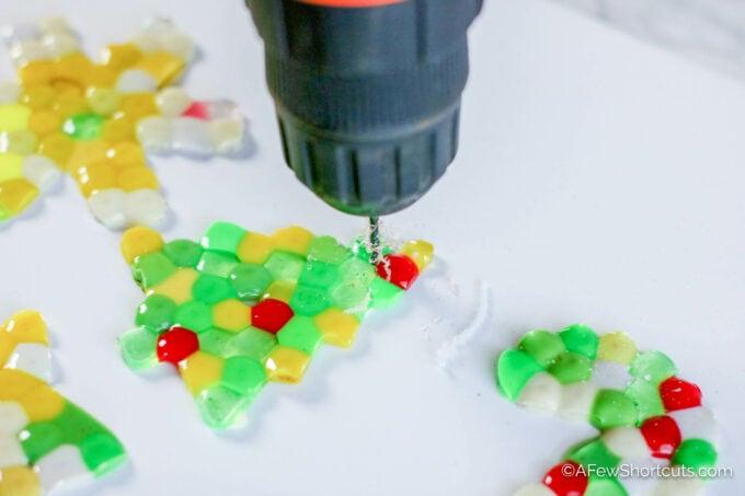 Drill in plastic ornament