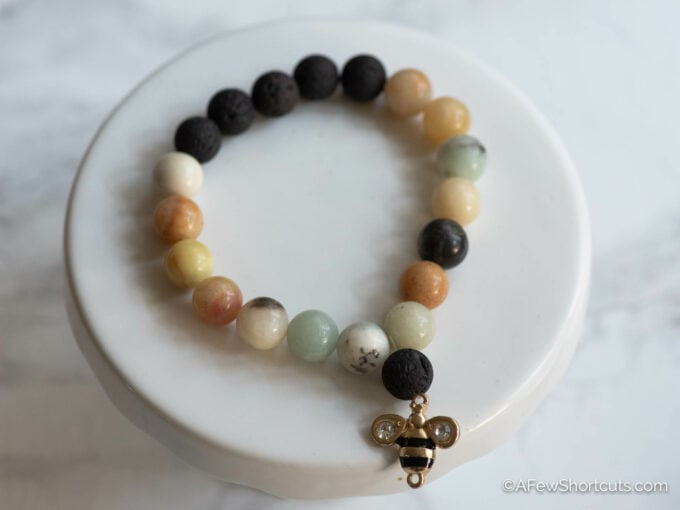 Beaded Diffuser Bracelet with bee charm