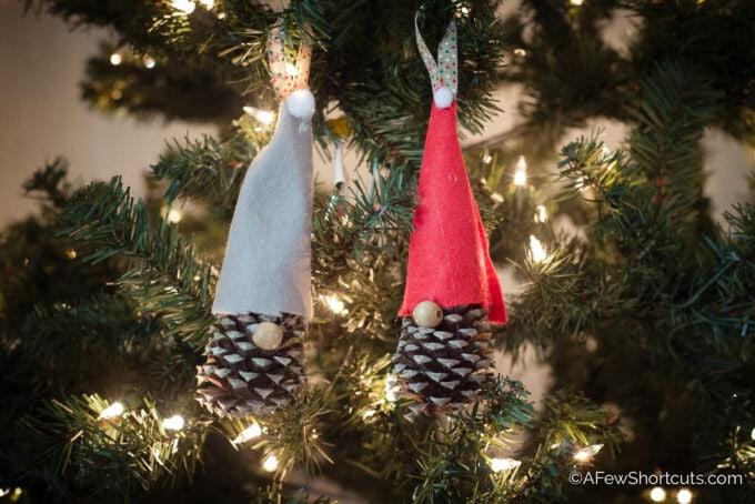 Pinecone Gnome Christmas Ornaments