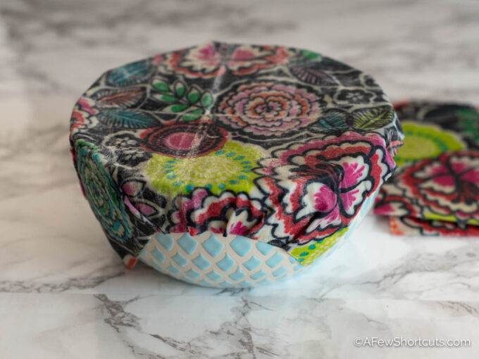 beeswax food wrap on bowl