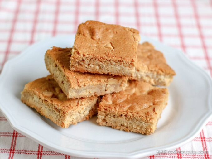 Chewy White Chocolate Blondies on plate