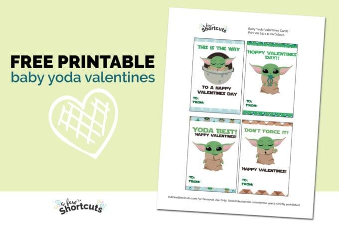 Printable Baby Yoda valentines