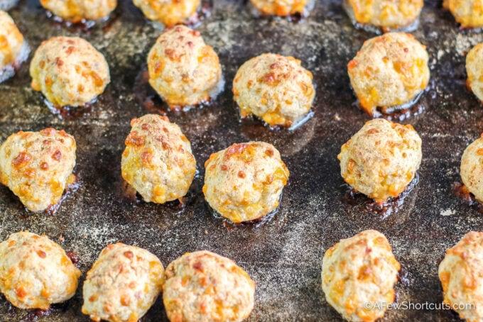 sausage balls on sheet pan