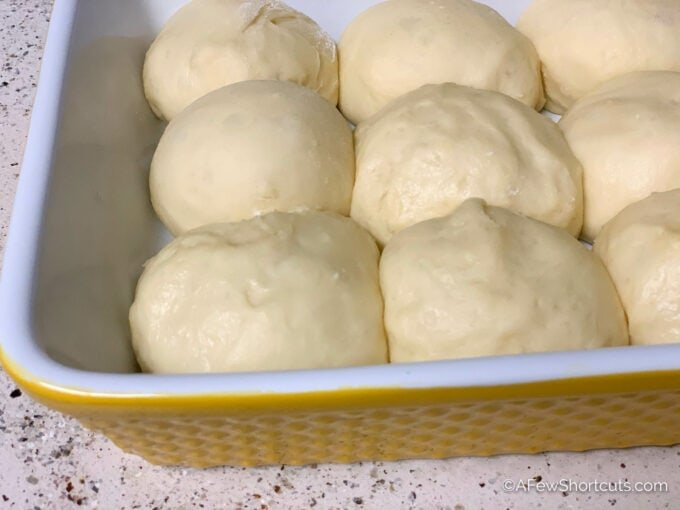 bread roll dough after rising in pan