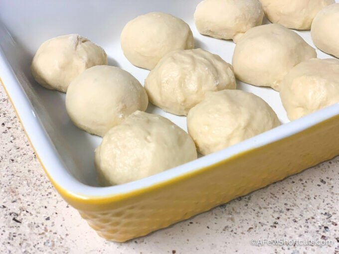Bread Roll dough in pan before rising