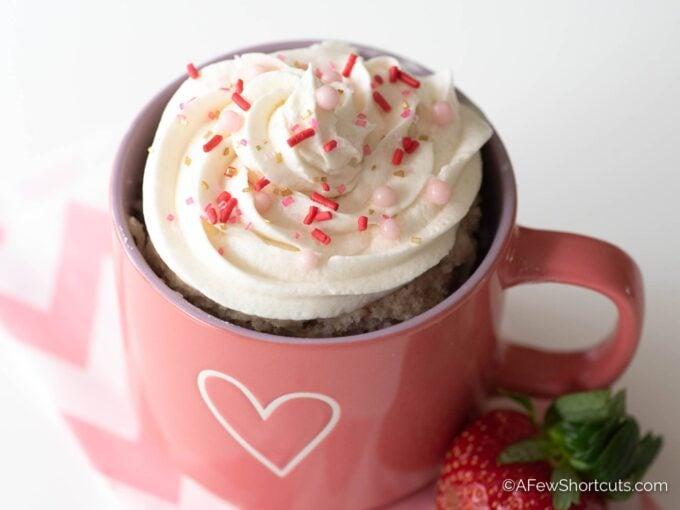 Strawberry Mug Cake with sprinkles