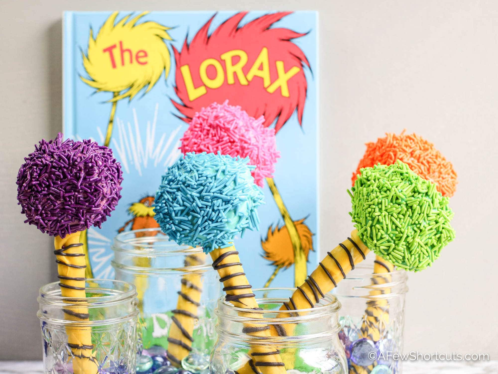The Lorax Truffula Tree Pretzel Snacks Recipe A Few Shortcuts