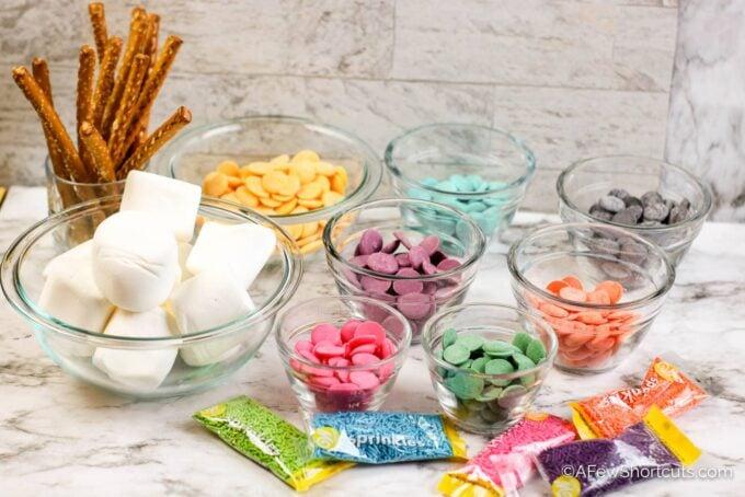Candy melts, pretzel rods, marshmallows