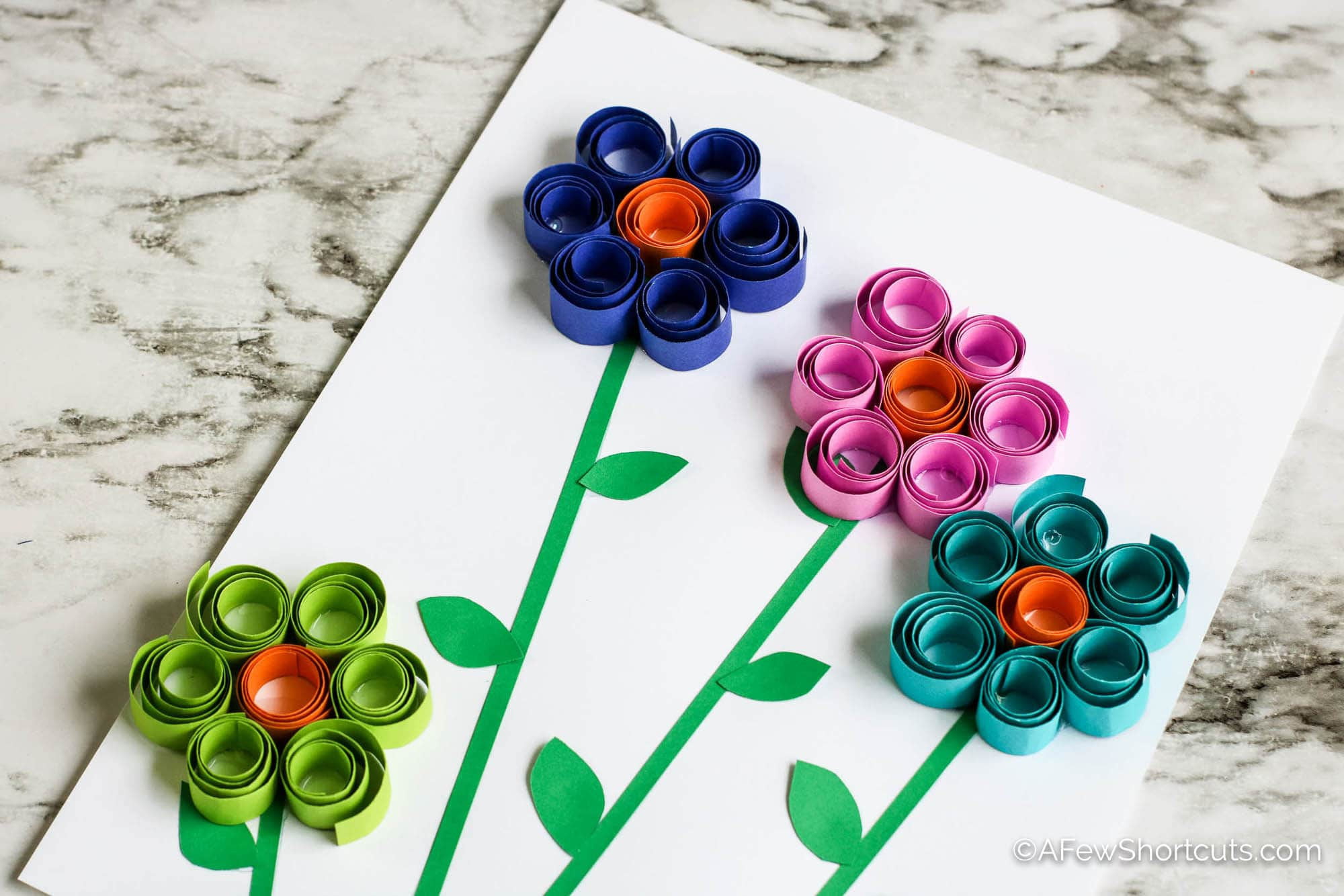 Curled paper spring flowers