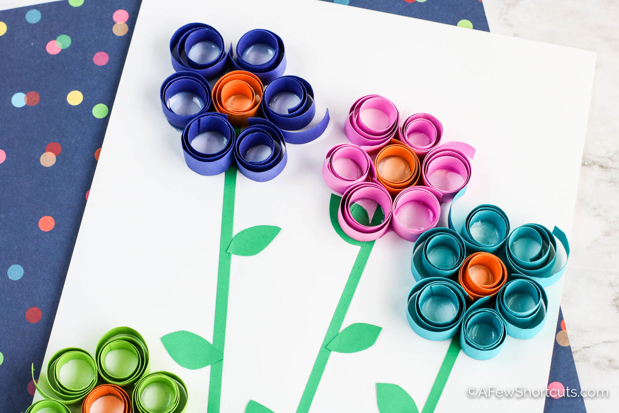 Curled Paper Spring Flowers Craft