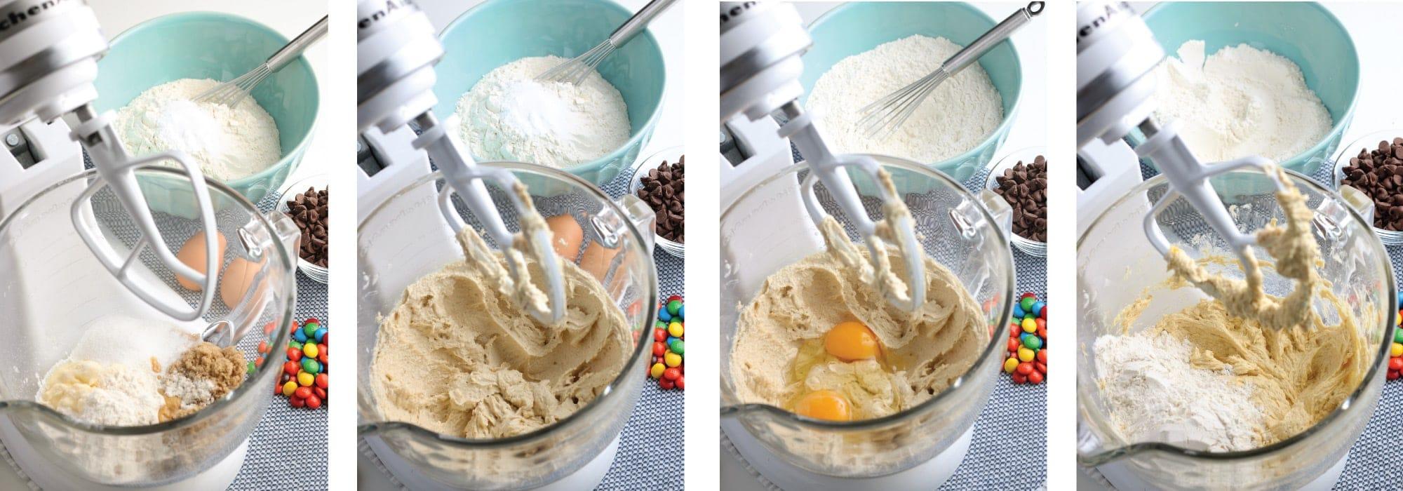 M&M Cookie dough in mixer